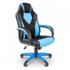 Офисное кресло Chairman game 17 Россия экопремиум черный/ голубой (7024559)