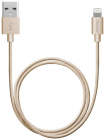 Дата-кабель USB - 8-pin для Apple, алюминий/ нейлон, MFI, 1.2м, золотой, Deppa (72188)