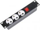 """Блок силовых розеток 10"""" без шнура с выключателем, 3 розетки, цвет черный (БР-3П-10-9005) (БР-3П-10-9005)"""