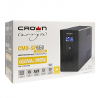 Источник бесперебойного питания ИБП CROWN 650VA/ 390W, корпус металл, 1x12V/ 7AH, выходные розетки 6*IEC С13, трансформа .... (CMU-SP650IEC USB)