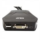 Переключатель, электрон., KVM, 1 user USB+DVI => 2 cpu USB+VGA, со встрШнурами USB 2x0.9м., 2048x1536, настол., исп.стан .... (CS22D)