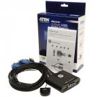 Переключатель, электрон., KVM, 1 user USB+VGA => 2 cpu USB+VGA, со встр.шнурами USB 2x0.9м., 2048x1536, настол., исп.ста .... (CS22U)