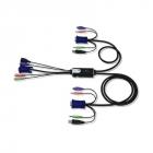 2-портовый KVM-переключатель со встроенными консольным и KVM кабелями (1, 2м), 1 user HDB15(SVGA Female)+USB(тип A Female .... (CS52A)