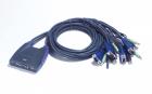 Переключатель, электрон., KVM+Audio, 1 user USB+VGA => 4 cpu USB+VGA, со встрШнурами USB 2x1.2м., 2048x1536, настол., ис .... (CS64UZ)