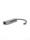 Кабель-концентратор USB 3.1 Type-Cm --> RJ-45+3port USB3.0(f) Aluminum Shell VCOM <DH311A> Кабель-концентратор USB 3.1 T .... (DH311A)