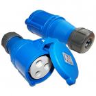 Вилка IEC 309 однофазная, мама, 32A, 250V, разборная, синяя (LAN-IEC-309-32A1P/ F)