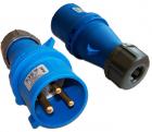 Вилка IEC 309 однофазная, папа, 32A, 250V, разборная, синяя (LAN-IEC-309-32A1P/ M) (LAN-IEC-309-32A1P/ M)