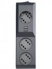 Сетевой фильтр Surge protector Pilot 3G 3xGP euro outlets, 10А/ 2.2кВа, 2xUSB, 5m, black (PILOT 3G 5M)