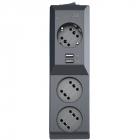 Сетевой фильтр Surge protector Pilot 3G 3xGP euro outlets, 10А/ 2.2кВа, 2xUSB, 1.8m, black (PILOT 3G)