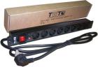 """Блок розеток 19"""" 8 шт. C19 с фиксатором вилки, 16A 250V, шнур питания 3.0 м (TWT-PDU-16A8C9L-3.0)"""
