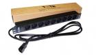 """Блок розеток 19"""" 9 шт. без выключателя, 10A 250V, шнур питания с вилкой C14, 3.0 м (TWT-PDU19-10A9P4-3.0)"""