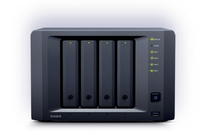 "Система хранения данных Synology NVR DVA3219 QC2, 1GhzCPU/ 4GB DDR4(up to 32GB)/ RAID0, 1/ upto 4 3, 5""/ 2, 5"" SATA HDD/ .... (DVA3219)"